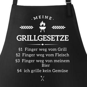 Grill-Schürze für Männer mit Spruch Grillgesetze Baumwoll-Schürze Küchenschürze Moonworks® schwarz unisize