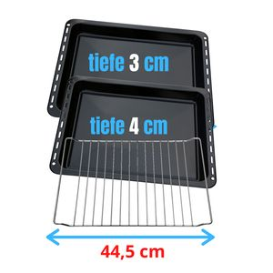 UNIQDEALZ 445 x 375 x 30 mm und 40mm 3er Set mit 2 Backbleche 2 Tiefe emailliert und 1 Backrost 445x340x25 mm passend für Bauknecht Whirlpool Ignis IKEA auch Neckermann Lloyds Quelle Privileg Matura