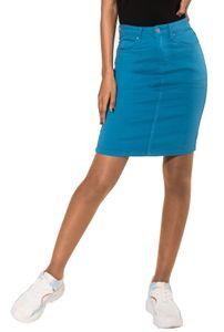Damen Rock Jeans Optik Knielang Stretch Midi Skirt Schlitz, Farben:Blau, Größe:36