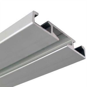 """Alu Vorhangschienen drehbar, Wendeschiene """"Silber"""" in 120cm, 1/2 Lauf Vorhangschiene aus Aluminium"""