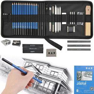 35tlg Skizzierstifte Set Bleistifte Zeichnen Skizzieren Kohlestift Zeichenstift mit Graphitstift Kohlestifte Papierstifte