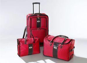"""3 tlg. Koffer-Set """"Milano"""" ROT  Trolley Tasche  weich Stoff  Rollen  NEU + 10 X Mund-Nasen-Schutz GRATIS"""