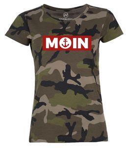 Damen Camo-Shirt Moin norddeutsch Morgen Anker Camouflage T-Shirt Tarnmuster Neverless® schwarz XL