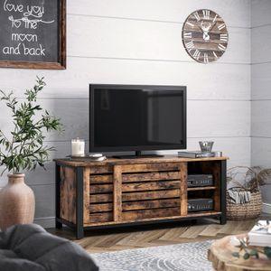 VASAGLE TV-Schrank 2 Schiebetüre 110 x 40 x 45 cm TV Lowboard Fernsehtisch mit 2 Regalebenen Vintage in Industrie-Design LTV41BX
