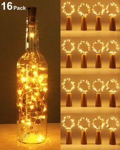 (16 Stück) Flaschenlicht Batterie, kolpop Flaschenlichterkette Korken 2M 20LED Glas Korken Licht Lichterkette mit Batterie für Flasche für außen/innen Deko für Party, Hochzeit, Weihnachten - Warmweiß [Energieklasse A+++]