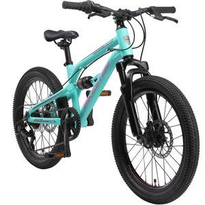 BIKESTAR Alu Kinder Jugend Mountainbike Vollgefedert, 7 Gang Shimano, 20 Zoll ab 6 - 7 Jahre   Fully MTB Scheibenbremse   Türkis