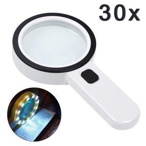Lupe mit Licht Leselupe,Lupe mit 12 Led Licht 30X Handlupe Beleuchtet zum Lesen,105mm groß Verzerrungsfreier Leselupe mit Doppelglaslinse für Kleingedruckten,Karten,Münzen & Schmuck-Weiß