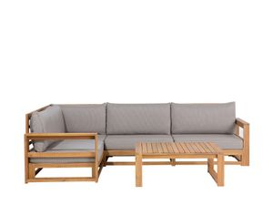 Gartenmöbel Set Hellbraun Akazienholz Textil 4-Sitzer Terrasse Outdoor Retro Landhaus