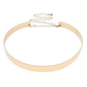 Womens Spiegel Metall Taillengürtel Goldplatte Taillenband Mit Kette Golden 2 cm