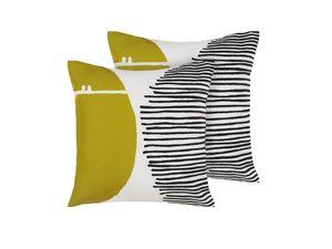 Gartenkissen 2er Set bunt 45 x 45 cm aus Polyester mit geometrischem Muster Quadratisch Garten/ Balkon /Terrasse modernes Design