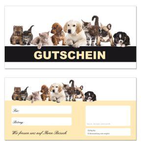 20 Geschenkgutscheine (Tiere-663) - Ein schönes Produkt für Ihre Kunden Gutscheine Gutscheinkarten für Bereiche wie Geschenke, Geburtstag, Freizeit, Erholung, Hunde, Katzen, Tiernahrung, Futter, Tierfriseur