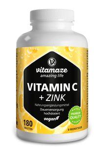 Vitamin C 1000 mg + Zink, hochdosiert & vegan, 180 Tabletten für 6 Monate