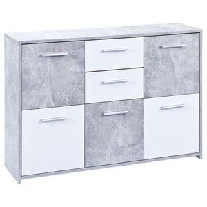 Kommode Sideboard Flavius Beton Nachbildung weiß 2 Schubladen 5 Türen