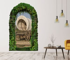 3D Wandtattoo Garten Tor Dschungel Western Wagen retro Indianer Prärie Pflanzen Tür Gewölbe Wand Aufkleber Wandsticker 11FB688, Größe in cm:27cmx45cm