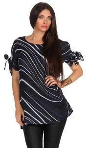 Mississhop Damen 100 % Leinenshirt Tunika Shirt Strandshirt Sommershirt schickes muster 309  Schwarz