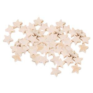50 Stücke Natürliche Farbe Stern Holz Perlen Holz Charme Für Schmuck Machen Handwerk DIY Makramee Armbänder Halsketten