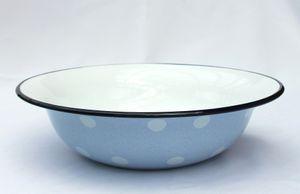 DanDiBo Schüssel 601/32 Hellblau mit weißen Punkten emailliert 32cm Teller Salatschüssel