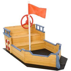 Outsunny Sandkasten Matschekiste aus Tannenholz Segelschiff Piratenschiff Design f?r Kinder 3-6 Jahre Natur
