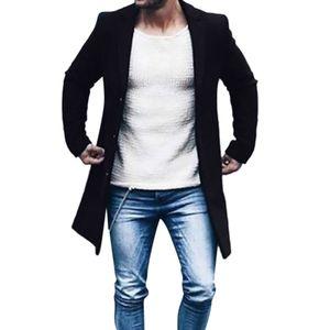 Herren Herbst Winter Button Slim Langarm Anzug Jacke Trenchcoat Top Bluse Größe:XL,Farbe:Schwarz