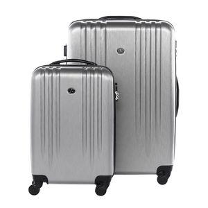 FERGÉ 2er Kofferset Handgepäck + 24' Marseille ABS Dure-Flex silber Trolley-Hartschalenkoffer Set 4 Rollen Kofferset 2-teilig Hartschale 55 cm