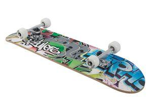 Skateboard No Rules ABEC 5 Graffiti mit Rucksack