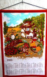 """Stoffkalender 2020 / Wandkalender  """" Hühner & Hahn  """" 65x45 cm- mit Stab und Kordel"""