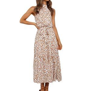 Frauen Dot Print Off Shoulder Neckholder Trägerloses Midikleid Sommerkleid für den Urlaub Apricot S