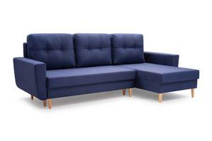 Ecksofa ONLY Sofa Couch Wellenfedern mit Bettkasten Ecke  Wohnzimmer Blau L-Form