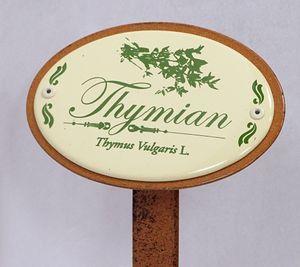 Kräuterschild Kräuterstecker Emaille, Thymian, Erdspieß 50 cm