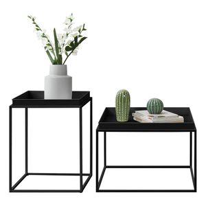 [en.casa] 2er Set Tabletttisch Schwarz mit Abnehmbaren Servierplatten Beistelltisch Set Serviertisch Doppelt Couchtisch Sofatisch