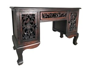 Schreibtisch Sekretär Burma Holz China Möbel Asia Neu 1 Schublade 2 Türen