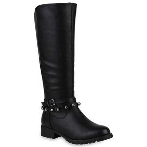 Mytrendshoe Damen Reiterstiefel Nieten Zierperlen Stiefel Leicht Gefüttert 818322, Farbe: Schwarz, Größe: 37