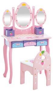 CLP Kinder Schminktisch Emilia mit Hocker und Spiegel, Farbe:pink