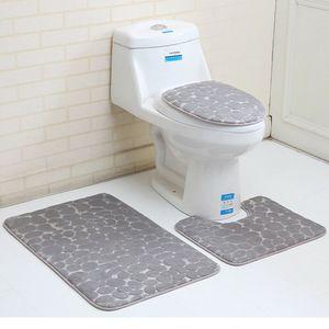 3 Badteppich Set Super Soft Badteppich und WC Vorleger Memory Foam Pebble Dusche Matte Schnell trocknend Badezimmer Matte Teppich, Grau