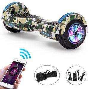 Hoverboard 6,5 Zoll mit 500W Motor Räder Lichter Bluetooth Lautsprecher, Kinder Sicherheitsmodus, Selbst Elektro Balance Scooter - Tarnung Grün
