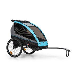 """Klarfit Kiddy King Fahrradanhänger für Kinder , 2-Sitzer max. 40 kg , 2-in-1 , nutzbar als Jogger-Buggy , Universalkupplung , 5-Punkt-Gurt , 2 20"""" Räder , Feststellbremse , Reflektoren , Wimpel , faltbar , wasserabweisendes Material , gepolsterte Sitze , Sonnen-, Fliegen- und Regenschutz , blau"""