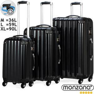 Monzana® Reisekoffer Koffer Trolley Set Hartschalenkoffer Kofferset 360°Rollen, Farbe:schwarz