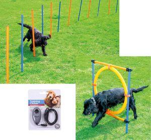 Hunde Agility-Set Hundesport 12 Slalom Stangen + Sprungreifen + Clicker