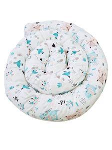 Babynestchen Bettschlange Nestchen Schlange Stoffschlange Kissen Babybett Tiere/Mint 300 cm
