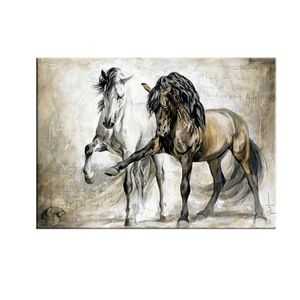 Retro Nostalgie Brown Horse Dance Original Moderne ?lgem?lde