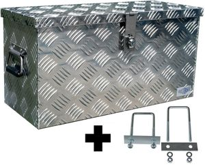 Truckbox D040 + inkl. Montagesatz MON4002 Deichselbox, Werkzeugbox, Alu Riffelblech, Transportbox, Alu Transportkiste, Anhängerkiste - ca. 40 Liter