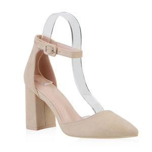 Giralin Damen Spitze Pumps Chunky High Heels Blockabsatz Party Schuhe 826011, Farbe: Beige, Größe: 38
