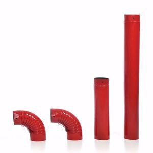 acerto® - Ofenrohr-Set, 120 mm Durchmesser, rot - Emailliertes Rauchrohr für Kaminöfen
