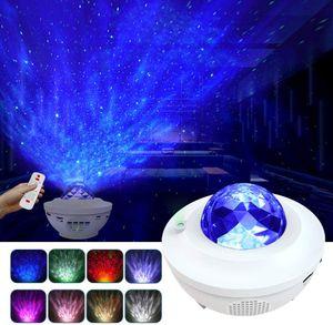 LED Projektor Sternenhimmel Lampe mit Fernbedienung Starry Stern Mond/Wasserwellen-Welleneffekt/Bluetooth Lautsprecher Perfekt für Party Weihnachten Ostern Halloween (weiß)
