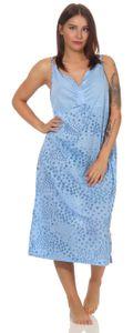 Damen Nachthemd Sleepshirt Nachtwäsche ohne Ärmel, Blau XL