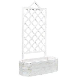 Ovaler Blumenkübel inkl. Rankgitter Holz - Weiß