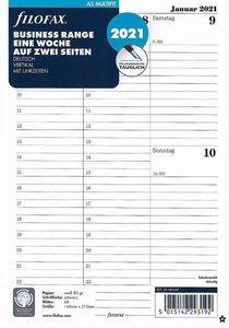 Filofax Kalender Einlage A5 Multifit: Eine Woche auf zwei Seiten 2021 deutsch vertikal mit Uhrzeiten