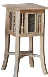 Orientalischer Beistelltisch mit Messing Dekoration - Größe M 53cm, Mehrfarbig, Holz,Messing, 53*28*28 cm, Kaffeetische & Bodentische