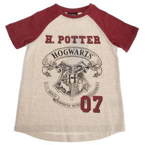Harry Potter Kinder Hogwarts T-Shirt PG108 (7-8 Jahre (128)) (Hellbeige meliert)