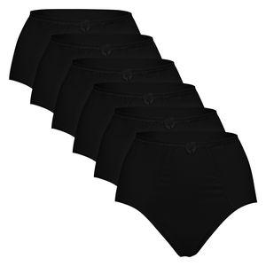 Celodoro Damen Taillenslip (6er Pack) Baumwoll-Slip verschiedene Designs - Schwarz 48-50